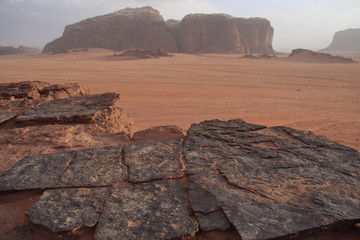 Dramatic rock formations in Wadi Rum desert