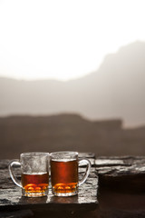 Traditional bedouin tea at sunset