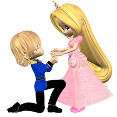 Cute Toon Fairytale Prince and Princess