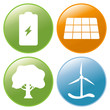 4 Vector Icons - Buttons Erneuerbare Energien