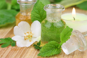 Aroma therapy with essence of roses and lemon balm