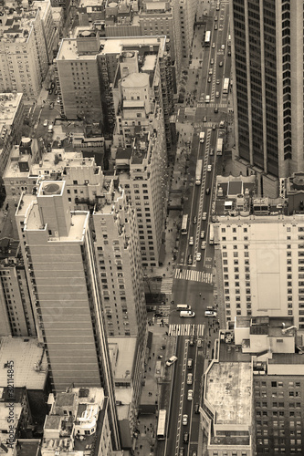 New York City Manhattan street aerial view black and white - 32114845