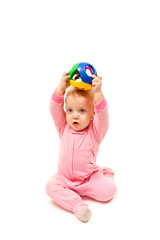 baby with color ball