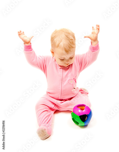 little girl with color ball