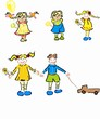 Stylized vector different children collection
