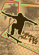Vintage urban background design with skateboarder silhouette