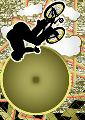 Vintage urban grunge background design with bmx biker silhouette