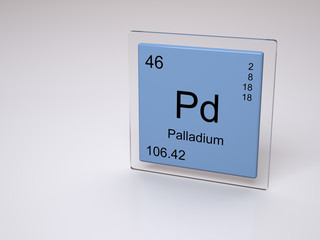 Palladium - symbol Pd - chemical element of the periodic table