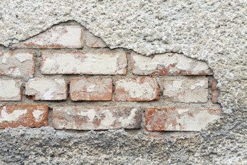 Brick wall without plaster