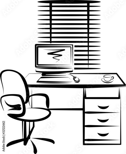 illustration with office work place