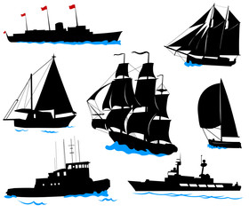 Silhouettes of offshore ships - yacht, fishing boat, warship.