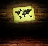 vintage world map room poster