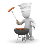 3d Little man cooks the barbecue