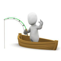3d Little man goes fishing in his boat