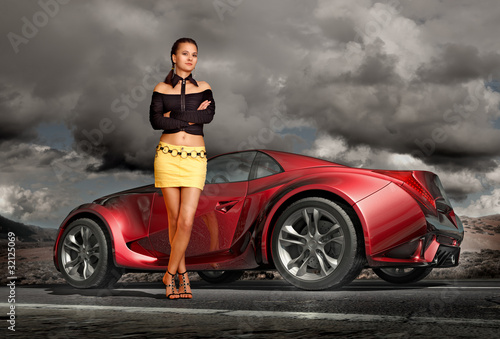 Girl and sports car. Original car design.