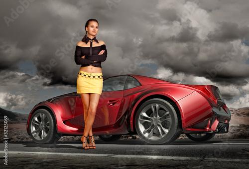 Girl and sports car. Original car design.