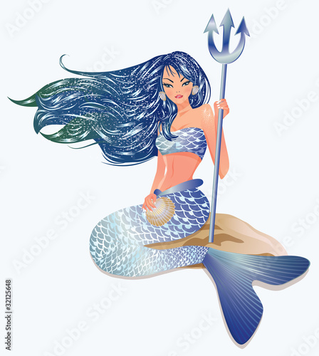 Poster Zeemeermin Mermaid with Trident, vector illustration