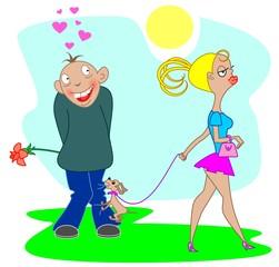 Влюбленный мужчина и девушка с собакой