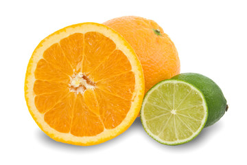 orange fruits  and green lemons  isolated on white.