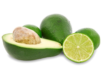 avocado and green lemon isolated on white background.