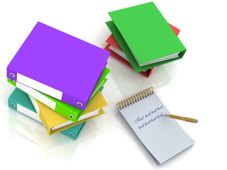 folders and notebook with a pen on a white background