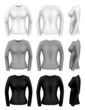 Women long sleeve t-shirt templates from all angles