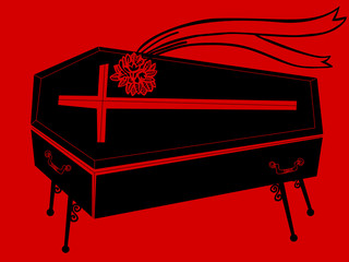 black coffin with bouquet
