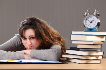 Beautiful student takes time for homework break