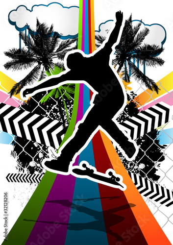 Summer abstract background design with skateboarder silhouette.