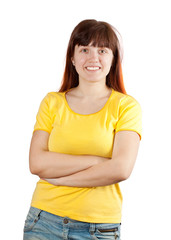 casual young girl in yellow shirt
