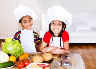 Cute african american little cooks