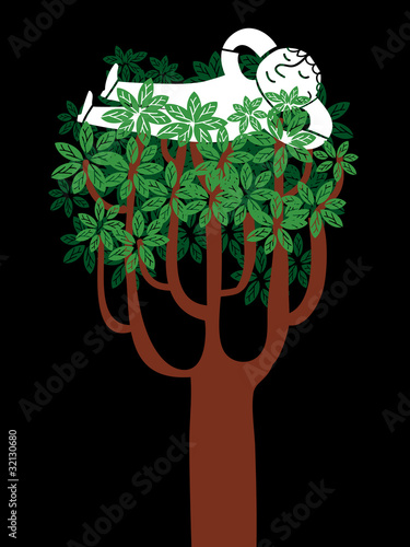 man resting in the branchs of a tree
