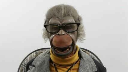 Puppet Monkey can't stop laughing.