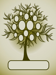 Vector family tree design with frames and autumn leafs