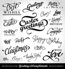 seasonal & holiday greetings, hand lettering (vector)
