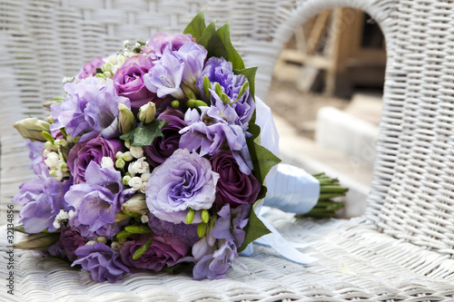 Staande foto Narcis wedding bouquet at chair