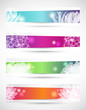 Set di banners con fiori- Set of headers with flowers shapes