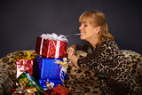 Beautiful woman gets a lot of gifts
