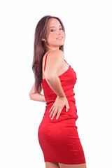 Beautiful sensual woman with a red dress