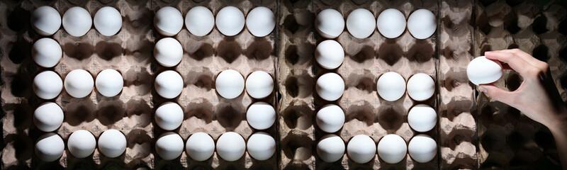 Word EGG from white eggs