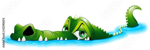 Coccodrillo Cartoon in Acqua-Crocodile in Water-Vector - 32140634