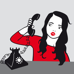 Pop art vector of a woman - girl talking on phone illustration