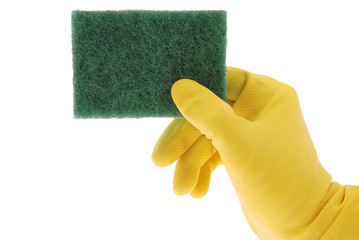 Rubber Glove and green Sponge