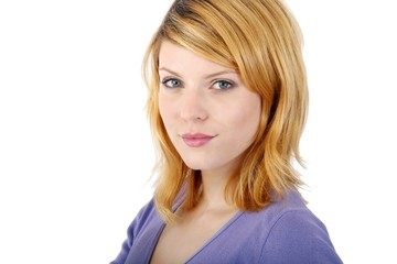 blond young woman (white background)