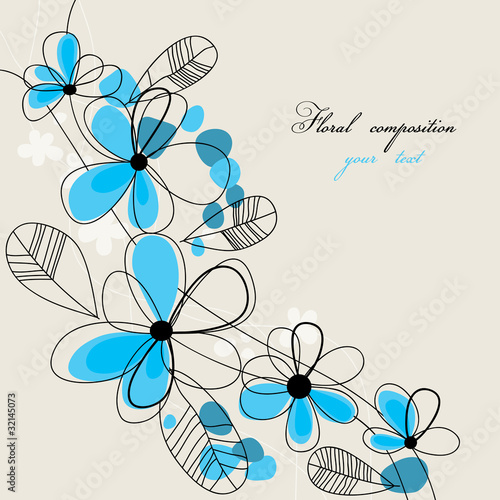 Tuinposter Abstract bloemen Floral composition with space for text