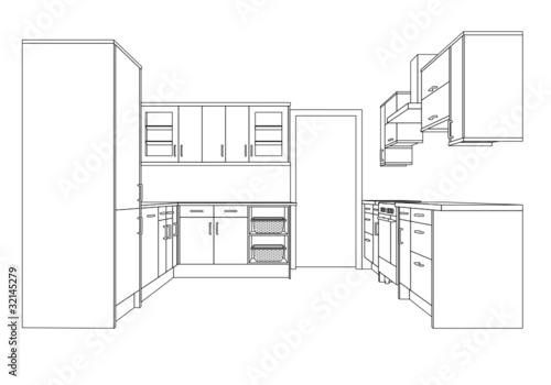 A 3d Single Point Perspective Line Drawing of a Fitted Kitchen by