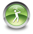 "Green Glossy Pictogram ""Golfing"""