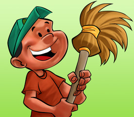boy with a broom