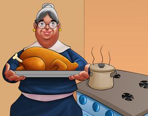 gandmother with a turkey