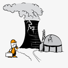 Protest stop atomic against nuclear power - vector comic cartoon